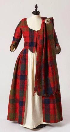 Isabella MacTavish's Wedding Dress ~ ~ Fraser clan tartan ~ Inverness Museum ~ The cloth itself is probably considerably older than the dress, and possibly dates to ~ Scotland ~ century Scottish costume. Scottish Costume, Scottish Dress, Scottish Fashion, Traditional Scottish Clothing, Scottish Wedding Dresses, Scottish Women, 18th Century Clothing, 18th Century Fashion, 18th Century Dress