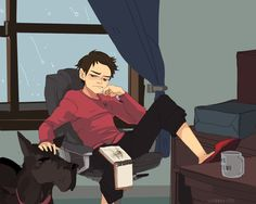 Damian Wayne and Titus. Note that Damian is drawing a picture of batman