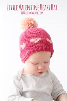 bf7b76134ab Knit up an adorable Fair Isle Heart Hat for Valentine s Day with this cute  and easy