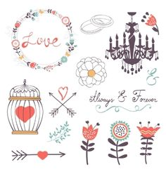 Elegant collection of romantic graphic elements vector floral wedding doodles by Olillia on VectorStock®