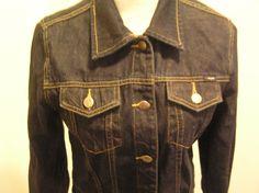 Angels Denim Jean Jacket Medium  Dark Wash 100% Cotton 2 Chest Pockets Cropped #Angels #JeanJacket