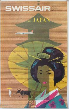 A beautiful Japanese travel poster featuring a Geisha Girl. The backround presents an airplane flying above the silhouette of an old-fashioned Japanese landmark. /  25x40 / Japan c. 1958 /