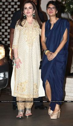 Nita Ambani along with filmmaker Kiran Rao, dressed in a Rashmi Varma ensemble, hosted an after party for the successful launch of the 17th edition of MAMI Mumbai Film Festival in the city, on October 29.