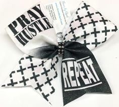 Bows by April - PRAY HUSTLE REPEAT Sublimated Cheer Bow, $15.00 (http://www.bowsbyapril.com/pray-hustle-repeat-sublimated-cheer-bow/)