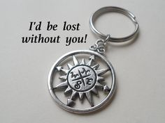 Compass Keychain or Necklace Couples Husband by JewelryEveryday, $5.95