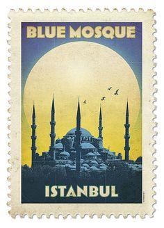 Vintage Travel Poster Blue Mosque