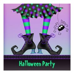 Whimsical Witch Legs Halloween Party Announcement.  $2.10