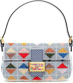 Fendi Blue Baguette Shoulder Bag with Handembellishment