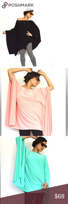 OVERSIZED SWEET THING TUNIC, MULTIPLE COLORS Handmade in Israel, material is Lycra, this top can fit any US SIZE 6-30, also very practical for maternity garments, made of beautiful unwrinkled jersey-Lycra. This wide figure tunic comes in one size that would fit all body types, sizes and shapes from petite to plus size and maternity. The length can be made longer or shorter.. the designer told me the this one size fits all of the above sizes and there are photos of what you can with the…