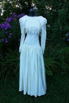 vintage #80s jessica mcclintock dresssatin laceivorysweddingpartyboho from $35.0
