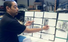 Director Jeffrey Madison maps out the storyboard. Storyboard, Maps, Map, Cards