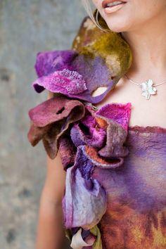 Svenja XX Forest Art, Nuno Felting, Wool Felt, Fashion Forward, Projects To Try, Textiles, Creative, Handmade, Top