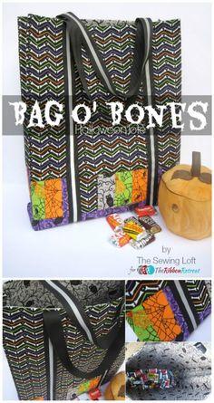 Bag O' Bones Halloween Tote - The Ribbon Retreat Blog