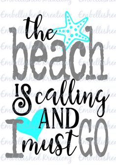 I love the beach! This decal is so cute! Let your imagination be your guide! Perfect for all the beach lovers out there living the beach life; Amazing for paper crafts, card making, window decals, office decor, car decals, signs, banners, tumbler cups, wearables, scrapbooking... you name it! The possibilities are endless.  This listing is for ONE custom The beach is Calling and I Must Go premium vinyl decal with colors shown. These letters are made with high quality premium outdoor vinyl…