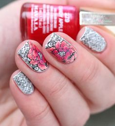Héhé stamping plates 073 // Plaids and florals - leadlight stamping nail art