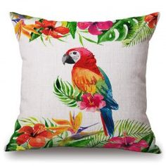 SHARE & Get it FREE | Fashionable Tropical Plants and Parrot Pattern Flax…