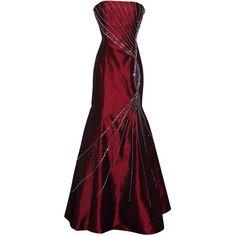 Strapless Taffeta Crystal Twist Mermaid Gown Formal Prom Dress ($80) ❤ liked on Polyvore