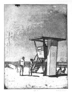 """Lifeguard Tower"" Etching by Nick Black at Cedar Street Galleries, Oahu"