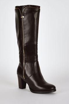 BROWN STUNNING Decorative Zip Detail Leatherette Calf Boots SIZES 3-8