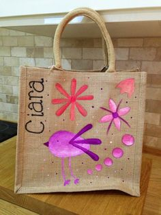 Hand painted children's birdy jute bag.