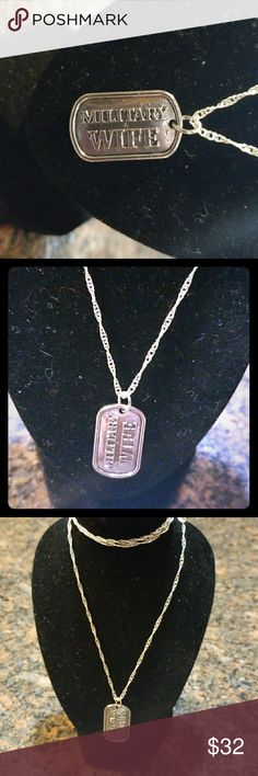 Silver plated MILITARY WIFE dog tag necklace With 22 inch 925 chain Jewelry Necklaces