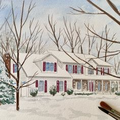 It's beginning to look slit like Christmas 🎄 Hand painted watercolor house portraits. House Paintings, Realtor Gifts, Promotion, Hand Painted, Watercolor, Portrait, Drawings, Artwork, Outdoor