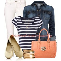 """Stripes & Denim Casual"" by casuality on Polyvore"