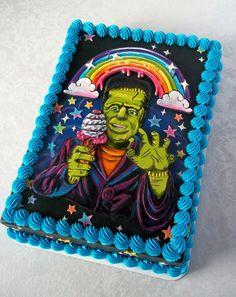 Lisa Frankestein Cake by Corrie Rasmussen. Based on a threadless shirt design. Pretty Cakes, Beautiful Cakes, Amazing Cakes, Cupcakes, Cupcake Cakes, Buttercream Fondant, Halloween Cakes, Halloween Sweets, Halloween Party