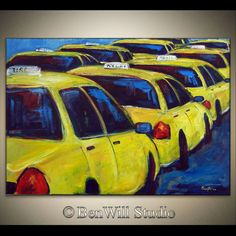 New York City Art ORIGINAL Yellow TAXI Painting Large by benwill