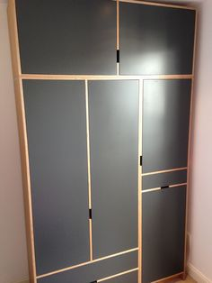 Wardrobe made from oak veneered Finnish birch ply, with handles routed from the carcass. Doors are spray painted for ultra smooth finish: Painted Wardrobe, Wooden Wardrobe, Bedroom Wardrobe, Built In Wardrobe, Plywood Cabinets, Plywood Furniture, Bedroom Furniture, Diy Furniture, Furniture Design