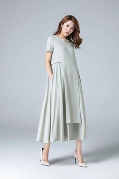 Loose linen dress Linen dress midi dress womens dress plus Prom Dresses Online, Day Dresses, Summer Dresses, Prom Dress Shopping, Online Dress Shopping, Short Beach Dresses, Short Sleeve Dresses, Long Sleeve, Schneider