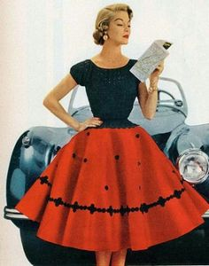Circle dress is one of the popular trends during the 50s. The dress will hide the hips and tight, and the top is slim fitting with short sleeve and with scoop neckline. Women in this time period had to wear a hoop skirt or layers to create the large volume of the skirt. Week 4 Chante Ho Nok Kan