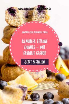 Blaubeer Zitrone Donuts mit Erythrit gesüßt. Frisch gebacken zu dir gekühlt nach Hause geschickt <3 Fruchtig zitronig und mit Heidelbeeren gespickt sind diese neuen Sommerdonuts! Natürlich mit Erythrit statt Zucker, Lowcarb, Keto, Glutenfrei und Paleo. Jetzt nur für begrenzte Zeit! www.soulfood-lowcarberia.de Snacks, Low Carb Desserts, Coleslaw, Donuts, Bread, Brownies, Paleo, Food, Low Carb Snack Ideas