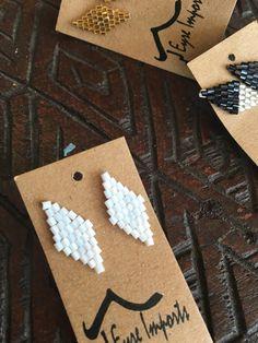 Geo beaded diamond studs in shiny white..perfect x