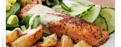 Salmon with roasted potatoes and cucumber salad