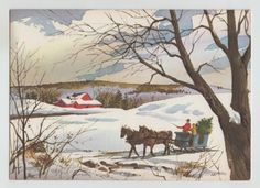 Vintage-Boy-and-Man-IN-Sleigh-With-Horse-Winter-Christmas-Greeting-Card