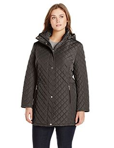 Calvin Klein Womens PlusSize Classic Quilted Jacket with Side Tabs Black 1X -- To view further for this item, visit the image link. This is an affiliate link.