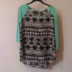 Aztec print flowy shirt 3/4 sleeves with a semi-sheer Aztec pattern bodice. Rue 21 Tops Blouses