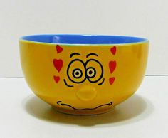 Anthropomorphic Funny Face 3D Protruding Nose Cereal Soup Bowl Yellow Blue