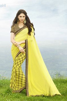 265d370d5ed Buy Tanjore Yellow Printed Georgette Saree online in India at best  price.Product Detail Material and Care Size   Fit More Info Yellow printed  casual saree