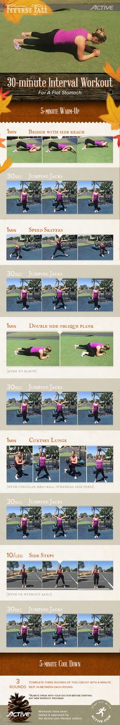 Fall Workout - Printable 30 Minute Interval Workout for a Flat Stomach