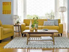 Salas decoradas em amarelo mostarda ~ Decoração e Ideias - casa e jardim