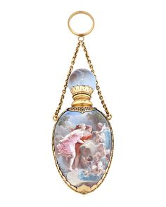 Encapsulated in brilliant enamels in an exquisite homage to love, this perfume bottle is a stunning 19th-century French objet d'art. Mounted in 18K yellow and rose gold, this perfume would have been attached to a chatelaine, a jewelry chain worn by women to conveniently hold small necessities long before purses became fashionable ~ M.S. Rau Antiques