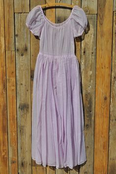 Vintage Sheer Lavender Swiss Dot 1950s-style Dress with Puffed Sleeves via Etsy