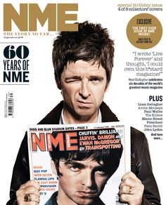 Noel Gallagher on the cover of NME. Noel Gallagher, Nme Magazine, Magazine Covers, Oasis Music, Beady Eye, Paul Weller, Iggy Pop, Eye Of Horus, Britpop