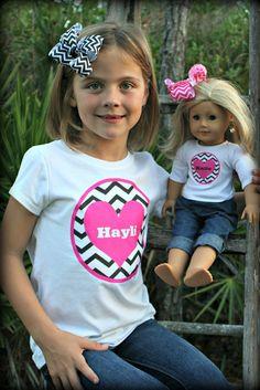 Girls Heart Chevron Shirt with matching doll shirt by BoutiqueLane, $35.00