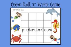 Ocean Roll and Write Game - printable, could adapt: after they roll and write letters, have them walk around and find words in the room that start with the letter and fill in the word