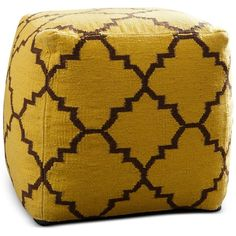 Maldin Pouf, Quick Ship (200 CAD) ❤ liked on Polyvore featuring home, furniture, ottomans, yellow, upholstery furniture, fabric ottoman, moroccan ottoman, yellow furniture and upholstered ottoman