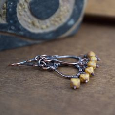 Wire Wrapped Copper Earrings  Drop Earrings  Rustic by entre2et7