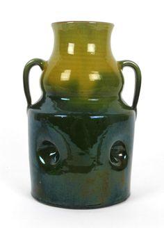 Brannam/barnstaple Ingenious Brannam Pottery White On Green Flower Pot And Dish Devon/torquay Ware